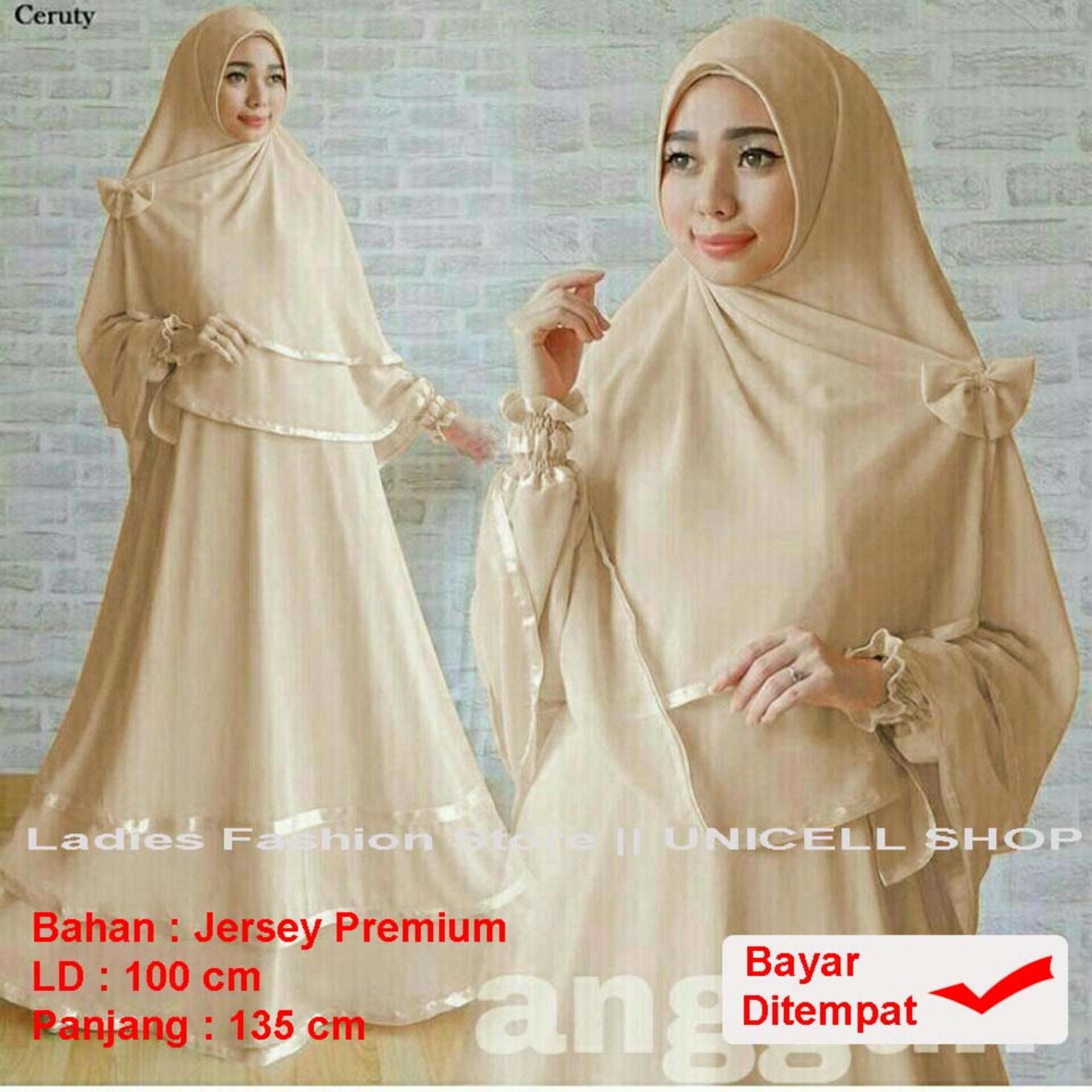 UC Baju Gamis Muslimah syari Fitri Busui / Set Terusan Maxi / Syari Simple Elegant / Baju Muslim Wanita / Kebaya Modern (ggunan) 1N - COKLAT SUSU /Hijab Muslimah / Baju Muslimah Wanita / Syari Syari'i Muslim / Gaun Muslim / Long Dress Muslimah Wanita