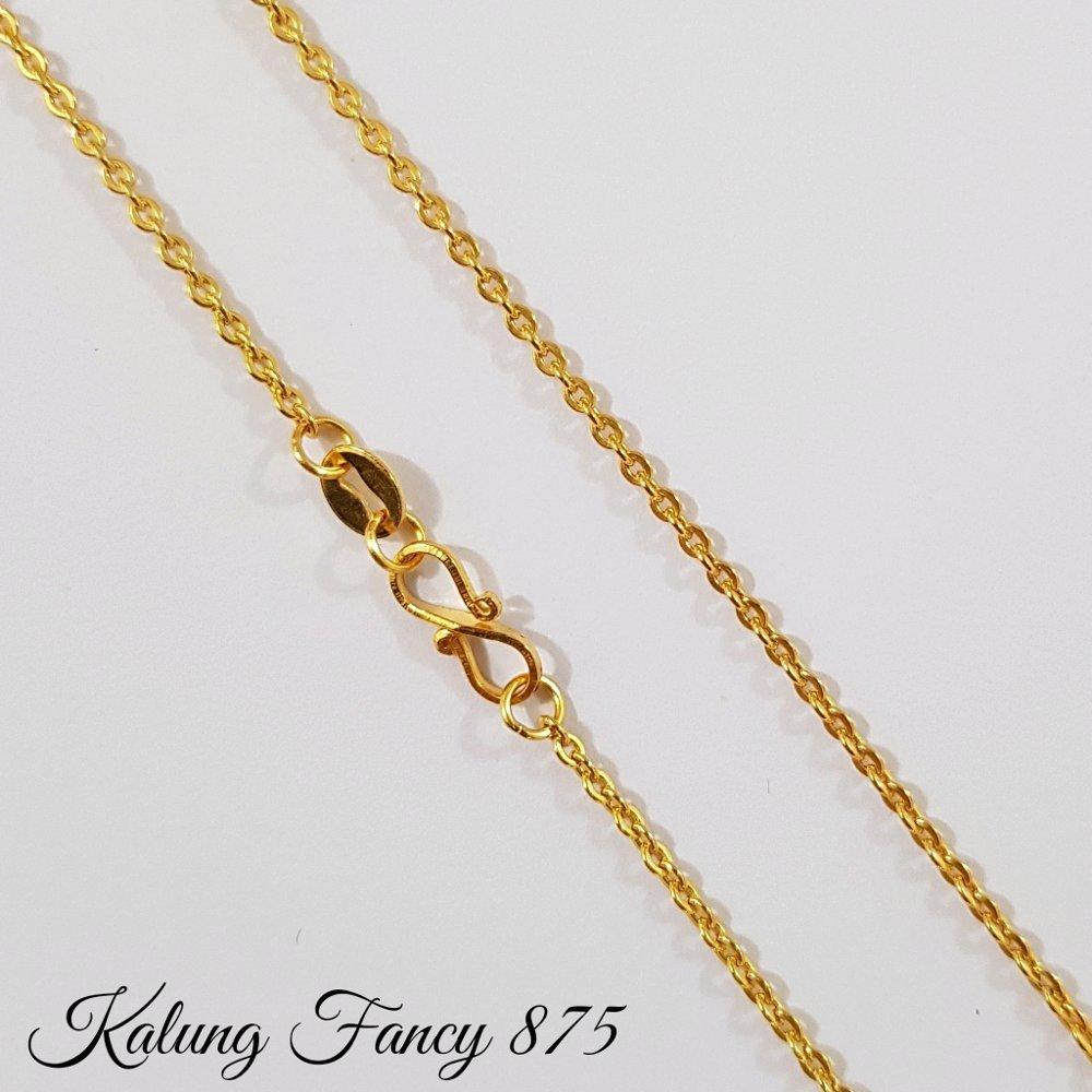 Best Seller.. Kalung Emas Asli Kadar 875 Fancy Polos 1.1 Gram Perhiasan Emas Wanita By Yukon Gold.