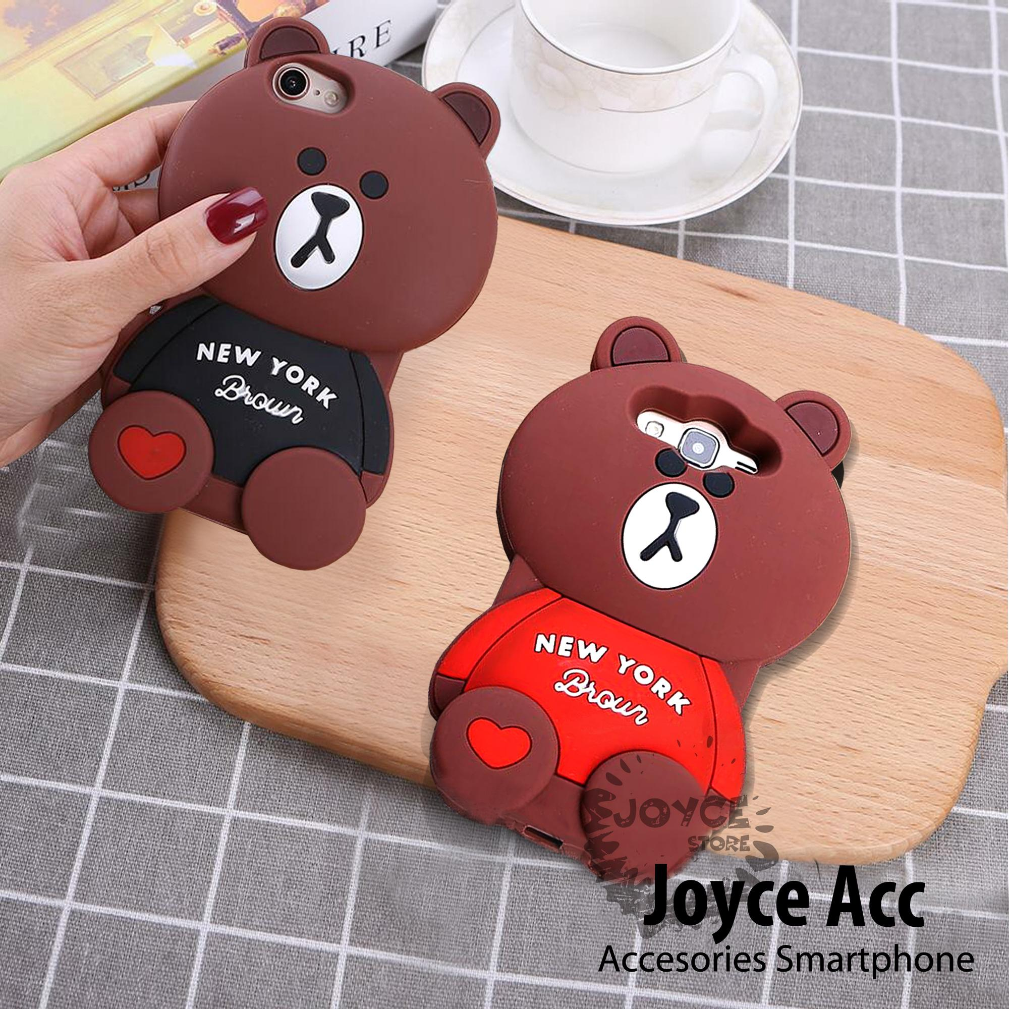 Softcase 3D Cute for Samsung J1 Ace Bear Brown Love New York