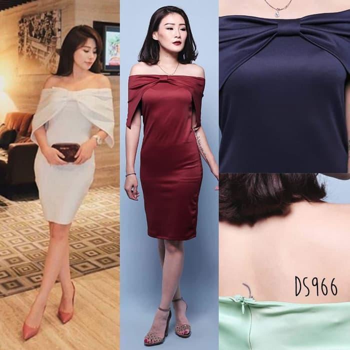 Meghan Sabrina Bodycon Formal Dress Gaun Pakaian Wanita DS966 - Hitam