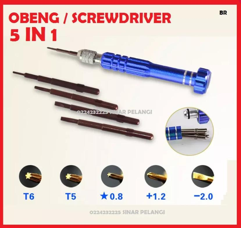 TOOL HANDPHONE ALAT SERVICE SCREWDRIVER OBENG 5 IN 1 PLUS 1.5 MINUS 1.5 STAR 0.8 T5 T6 QUICK 8600 800269