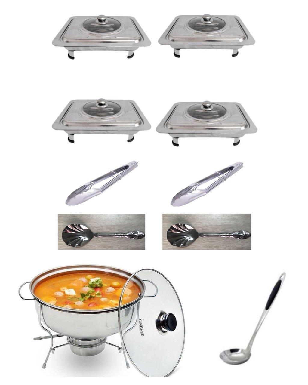 555 Wadah Saji Masakan - Prasmanan Set Isi 4, 1 Panci Soup, 2 Sendok Sayur, 2 Jepitan Makanan Stainless Steel, 1 Sendok Soup ( 10 In 1 ) By Maxi Store.