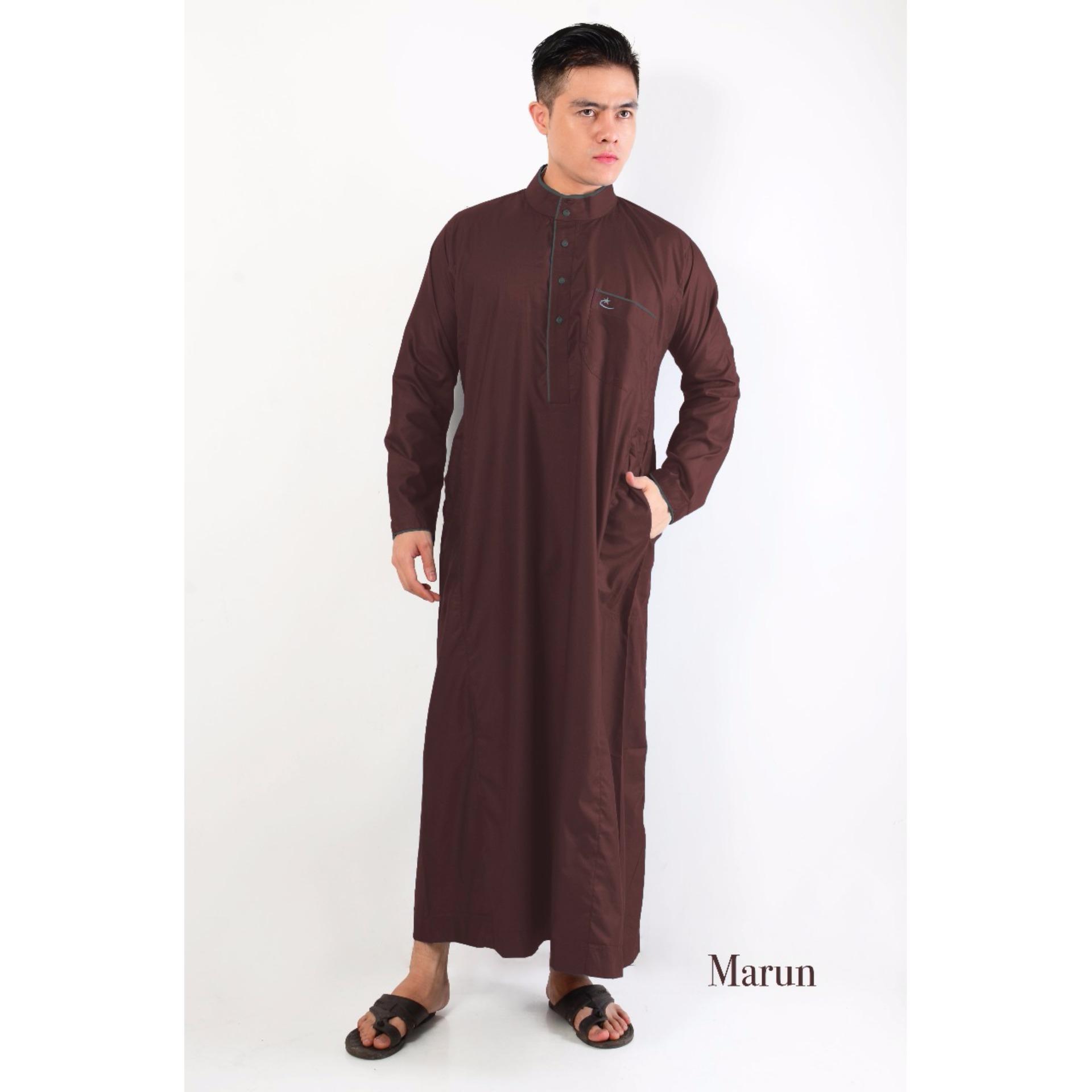 Al-Isra JUBAH ASAFI Pakaian Gamis / Muslim Pria (Maroon)