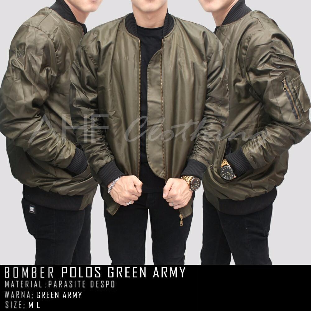 AHF Jaket Pilot Bomber Polos Pria - Hijau Army