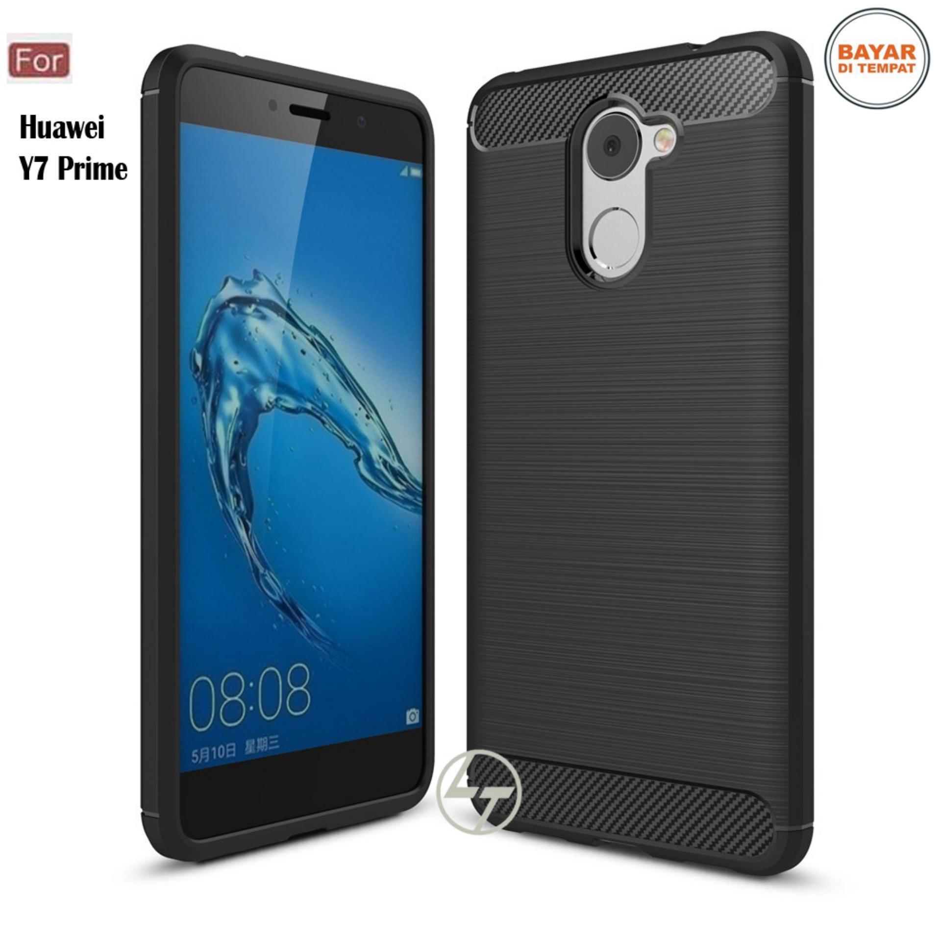 Lapak Case Carbon Fiber Premium Quality Shockproof TPU for Huawei Y7 Prime - Hitam