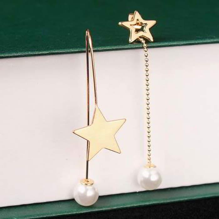 PROMO!!! PALING LARIS Anting Korea Simple pearl asymmetrical earrings - EK0208 (Laris Diskon)