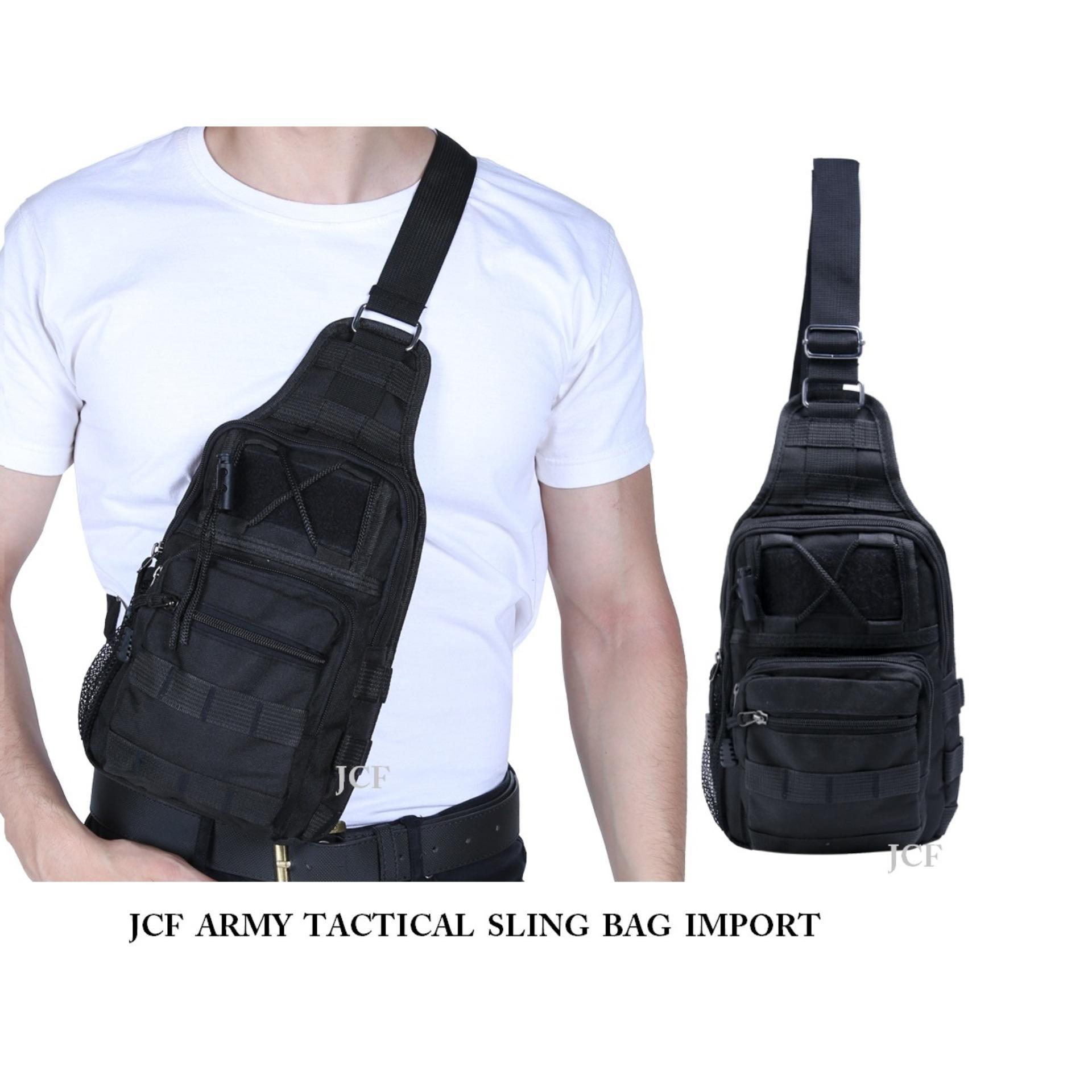 JCF Tas Slempang Import Cowok Pria Army Tactical Sling Waist Messenger Shoulder Bag Backpack – Black