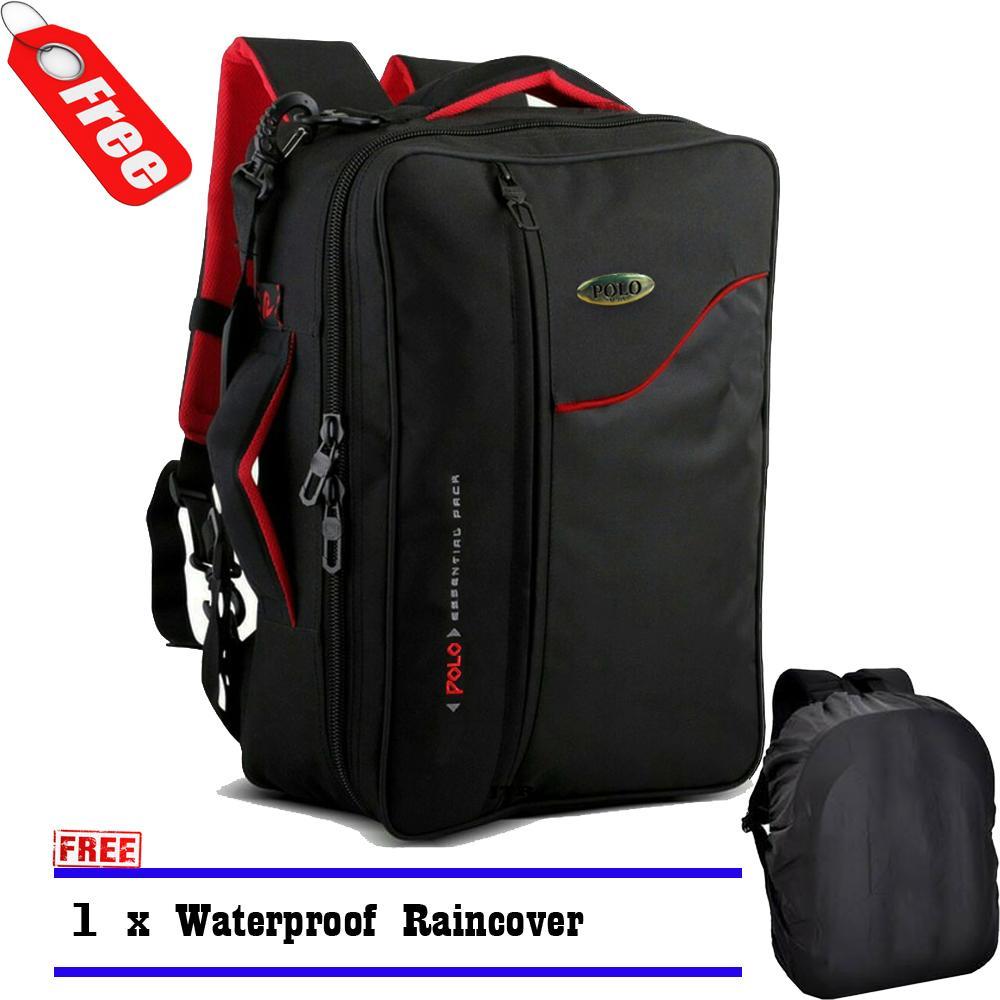 Polo Tas Ransel Pria Multifungsi 34685 Tas Wanita Tas kantor Tas Laptop 3in1 Original - Black