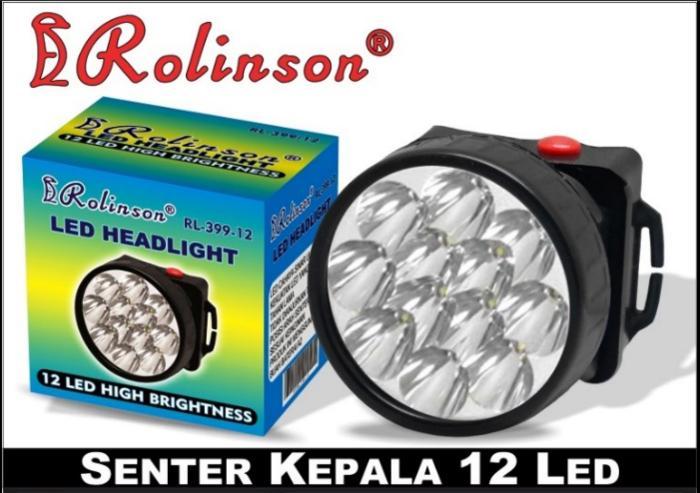 Senter Kepala / Headlamp 12 LED Baterai Rolinson RL-399-12H Murah