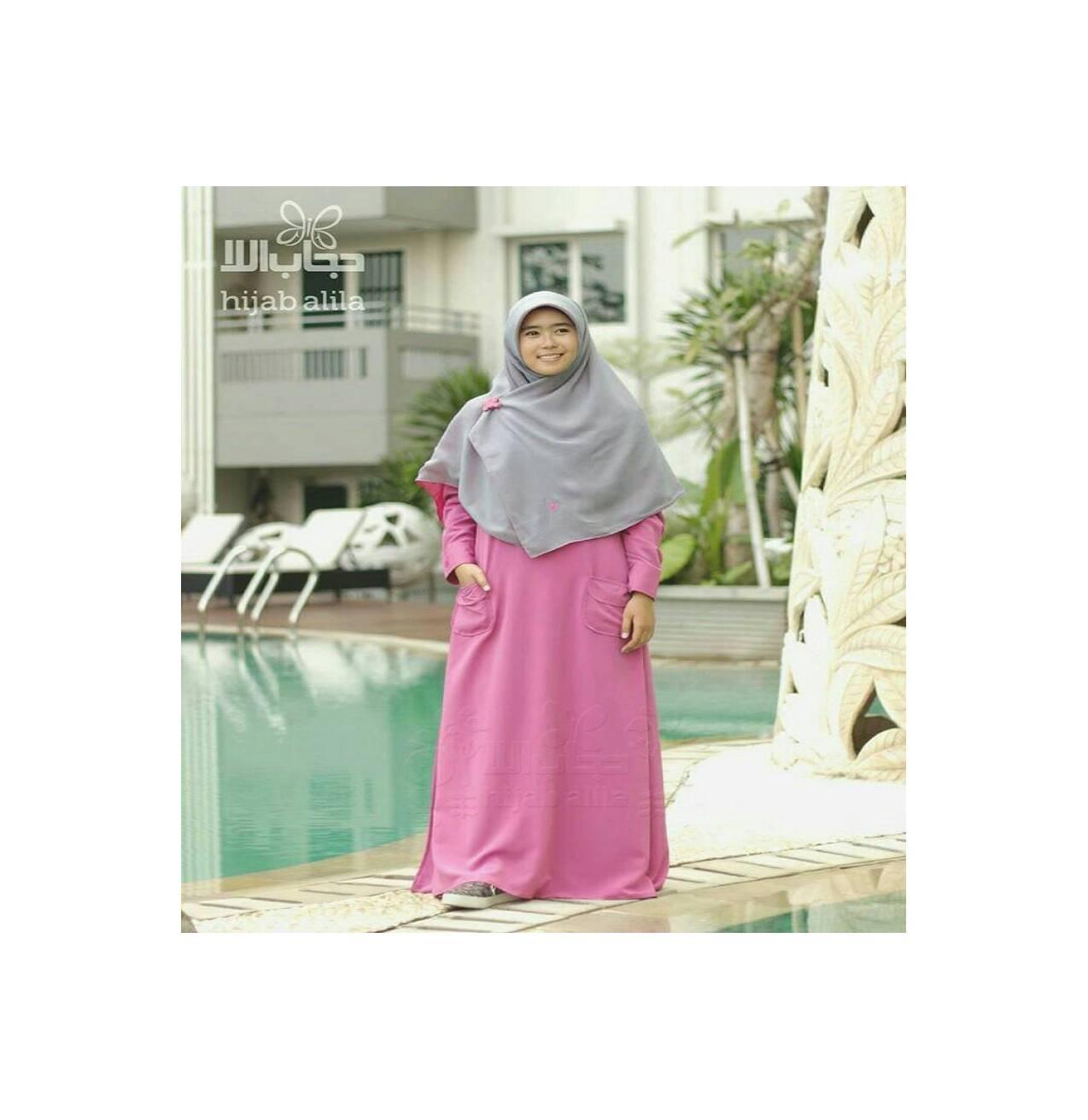 gamis premium dark pink hijab alila