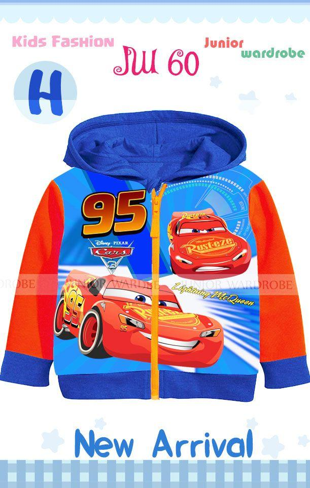 jw 60h pakaian anak laki laki / jaket hoodie kaos cars lightning mc queen