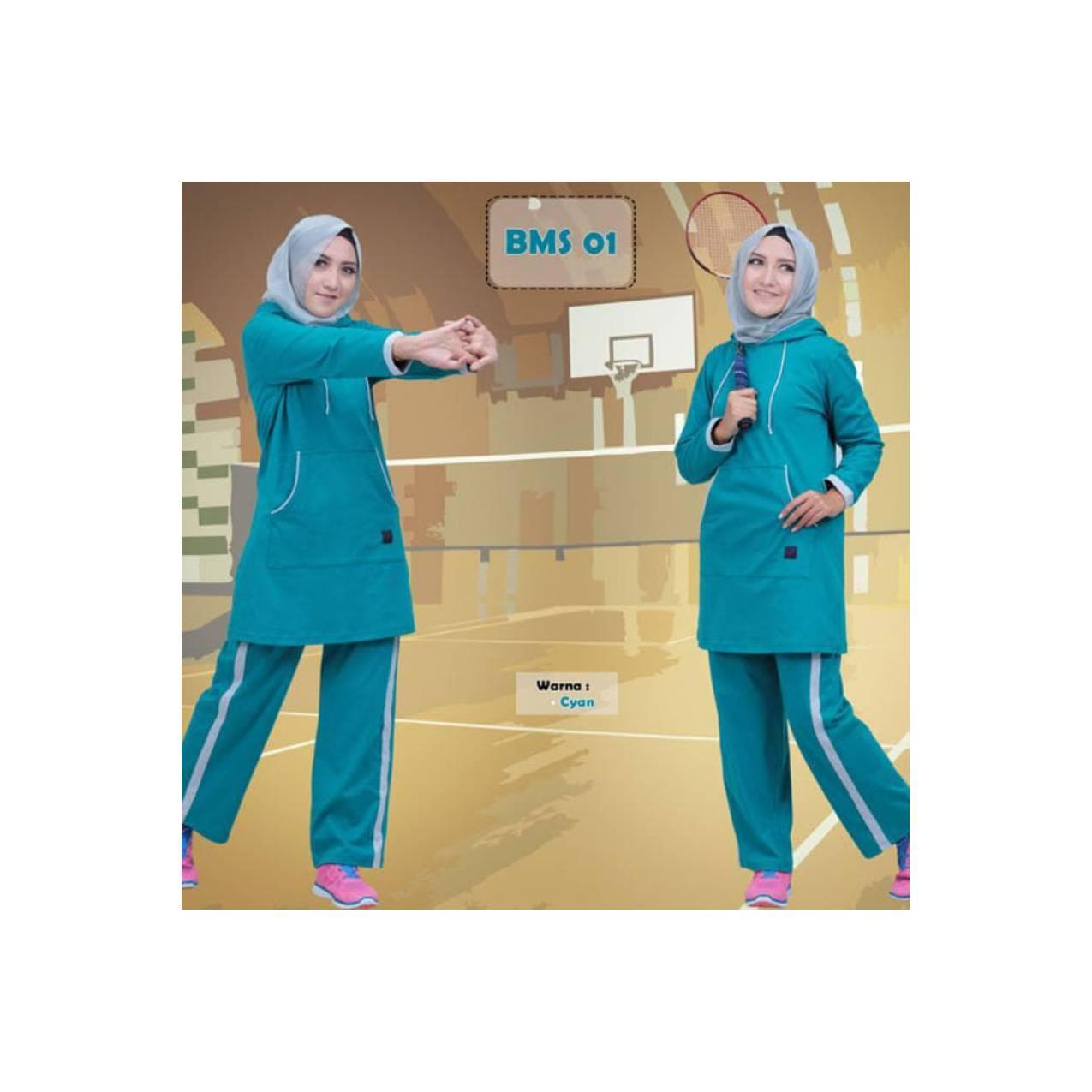 Baju Olahraga Kaos Muslimah Believe Bms 01 Cyan