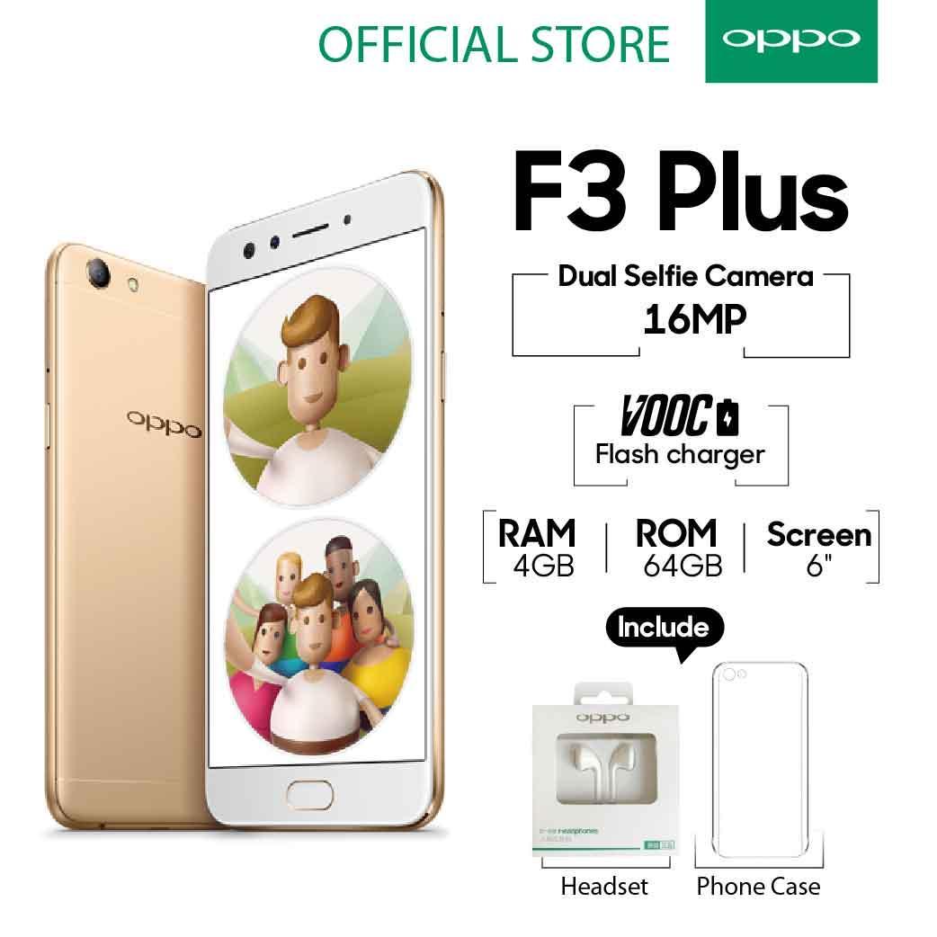 (FS) OPPO F3 Plus Smartphone Dual Selfie Camera 4GB/64GB Gold - (Cicilan TANPA Kartu Kredit, Cicilan 0%)