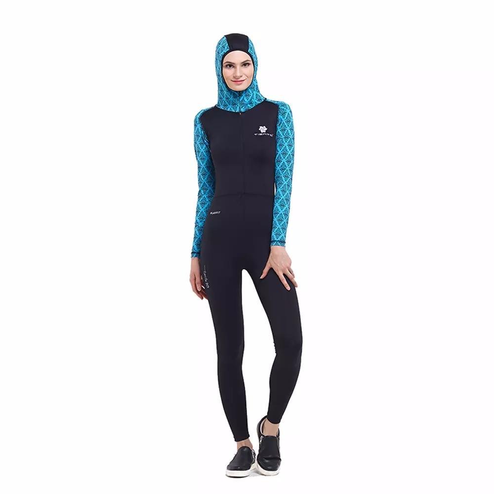 Tiento Black Turquoise Wetsuit Hoodie Baju Renang Wanita Muslimah Original