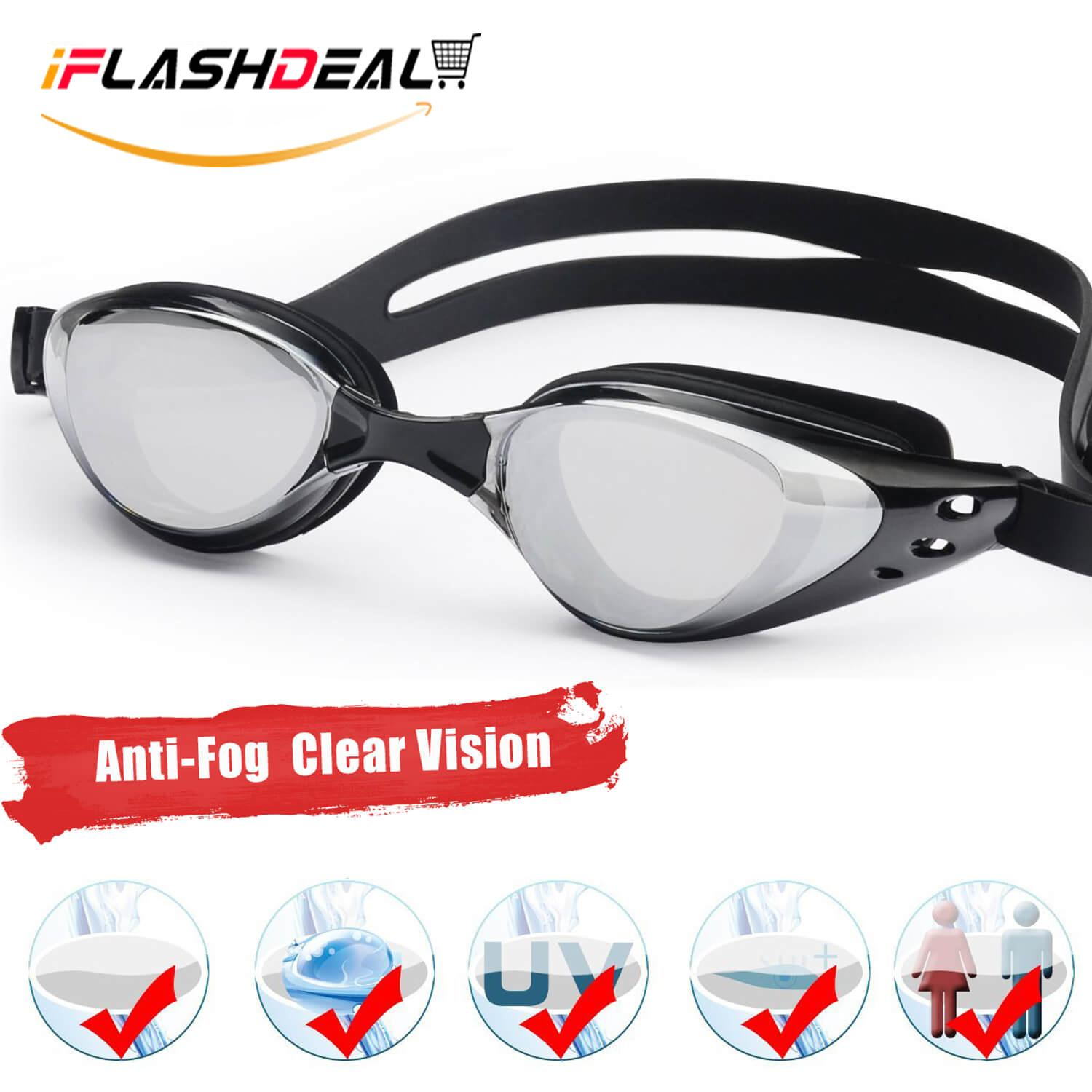 Iflashdeal Kacamata Renang Dewasa Bebas-Fogging Anti Sinar Uv Berenang Lensa Kacamata Renang Olahraga Air Outdoor Swimming Goggle By Iflashdeal.