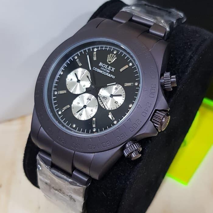 Jual Jam Rolex Daytona Cosmograph Automatic Black Doff Dial white Combi - Bergaransi