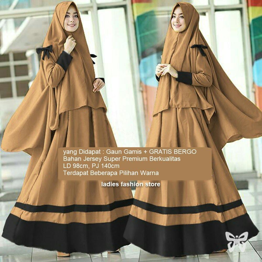 Gaun Wanita Muslimah Terbaru GRATIS BERGO   Gamis Remaja Modern  Gamis  Panjang   Baju Gamis 73bd53294d