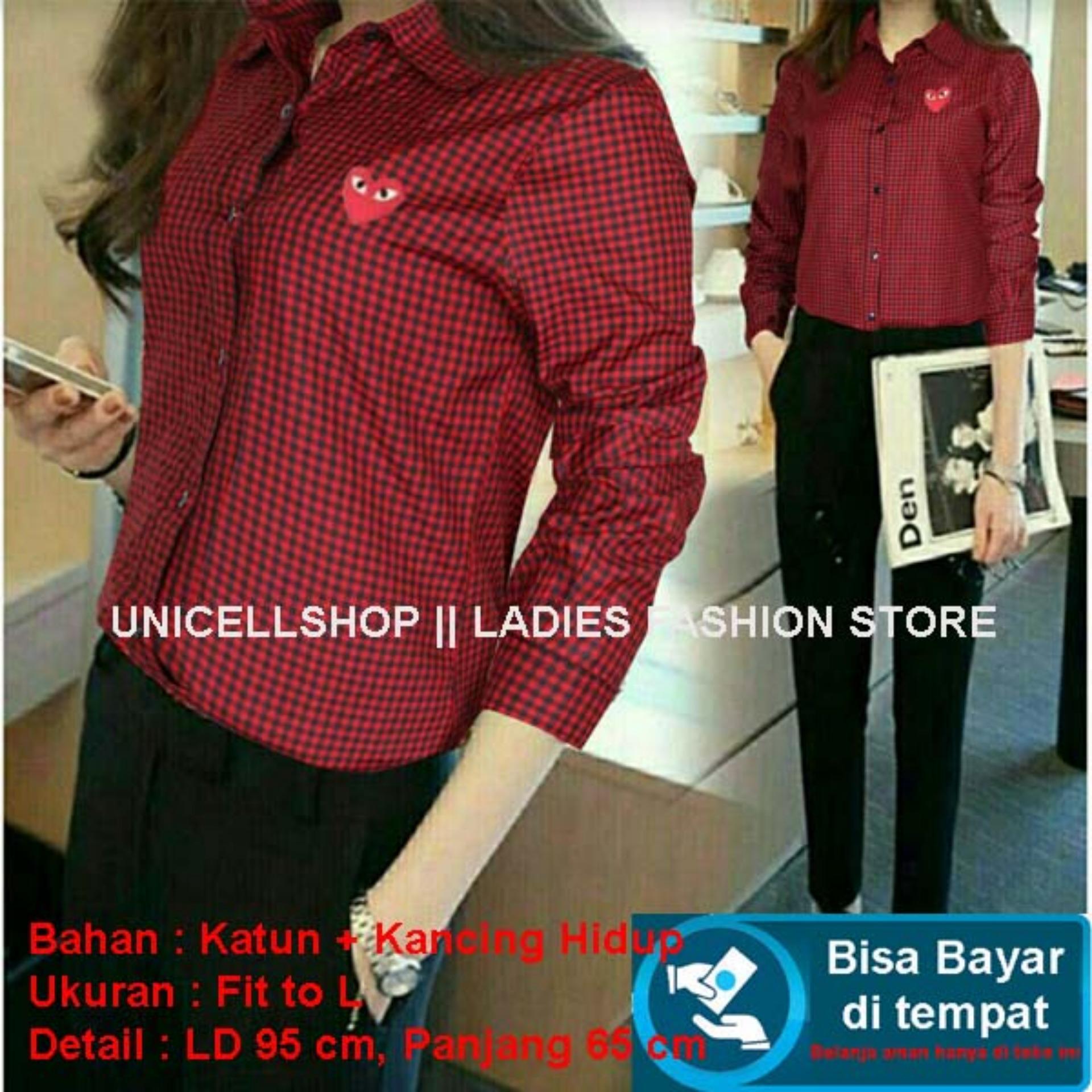 Baju Wanita Shop Kemeja Kotak Asli Love Bordir / Kemeja Long Hem Wanita Slim Fit / Fit to L NV (wne rconga) - MERAH