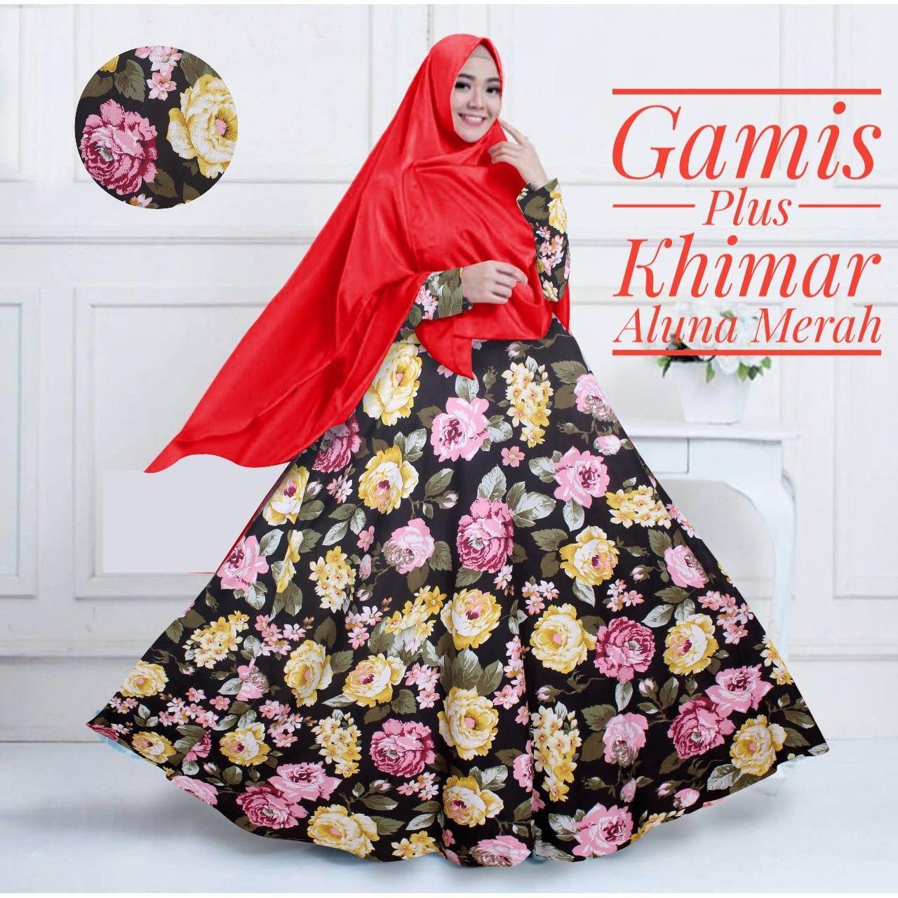 Gamis Katun Aluna Set Dengan Khimar Warna Merah