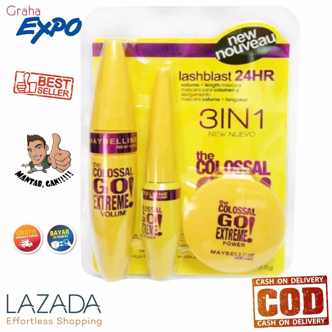 56973ab90fb Maybelline 3 in 1 Mascara + Eyeliner + Powder Compact The Colossal Go  Extreme Paket Maskara