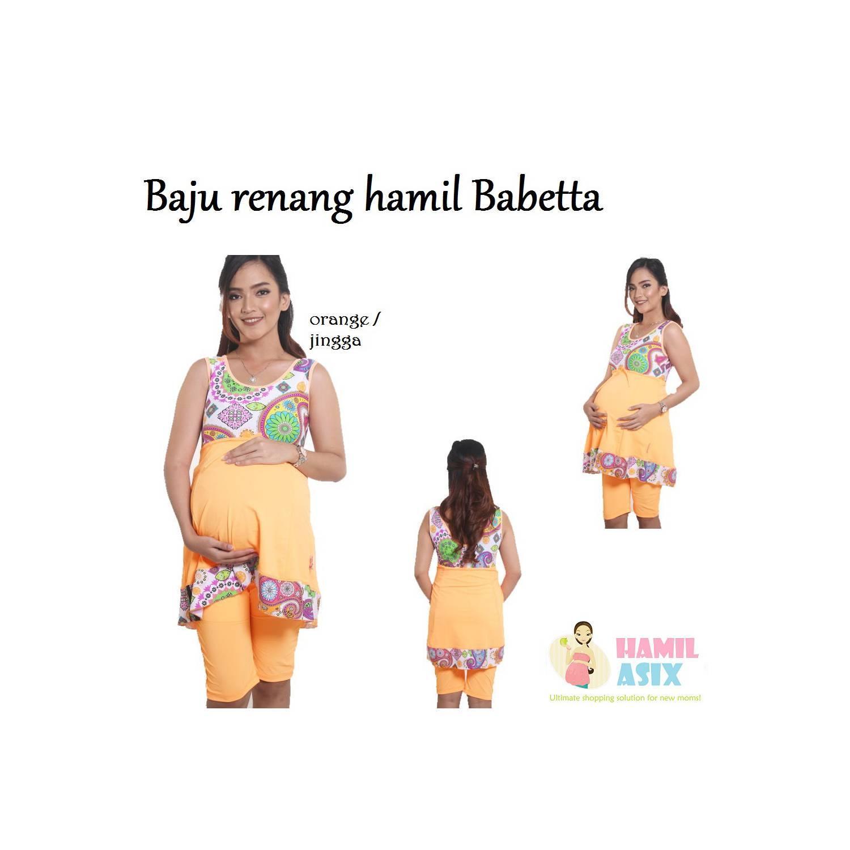 Babetta Baju renang hamil nylon spandex Jingga M / L / XL / XXL