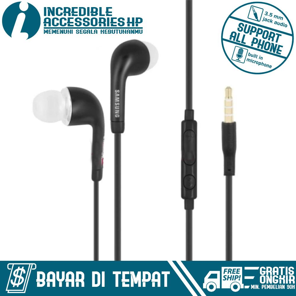 Headphone Headset Samsung Stereo Hs330 Putih Incredible Flat Cable For All Type Black