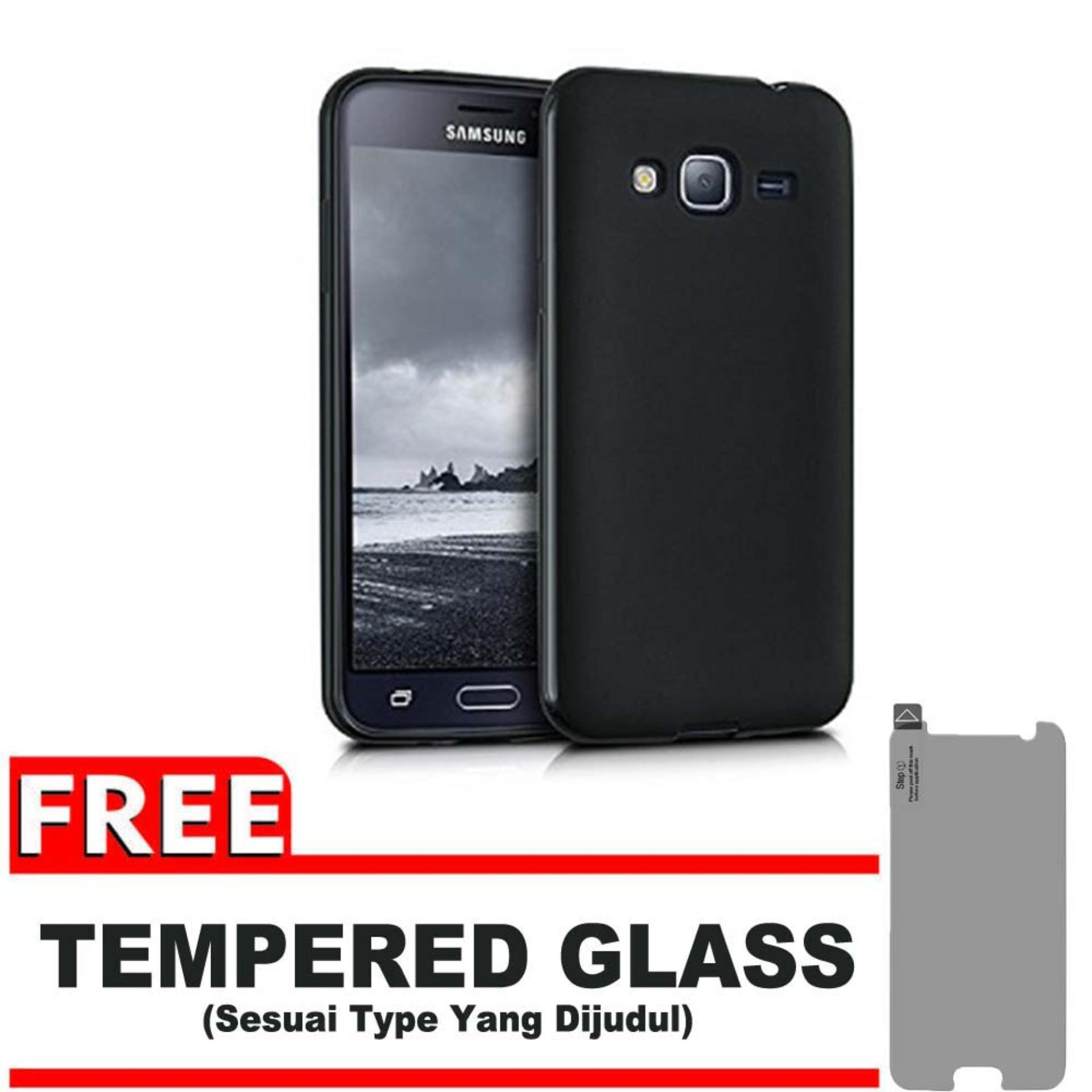 DarkNight for Samsung Galaxy J3 (Lama/Pertama) / J300 / J310 / J320 / 4G LTE / Duos| Slim Case Black Matte Softcase Premium (Anti Minyak/Anti Sidik Jari) - Gratis Free Tempered Glass Protector - Hitam Doff
