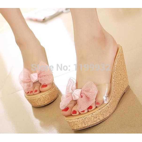 Jual Sandal Wedges Ribon Pink Murah Terbaru