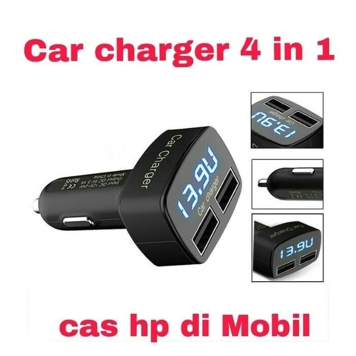 Harga Murah!! CHARGER HP MOBIL KUALITAS BAGUS / CHARGER 4 IN 1 / CAR CHARGER - ready stock