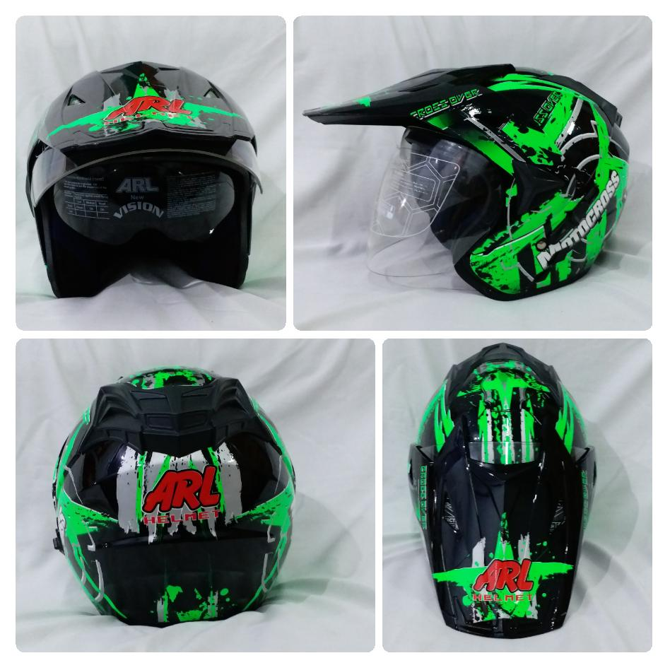 Helm ARL Semi Cross Half Face Double Visor Crossover motocross Hitam.