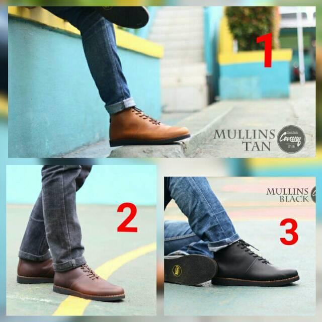Sepatu Boots Pria Kulit Sapi Aali Cevany Mullins Original Branded Gaya Gaul Nongkrong