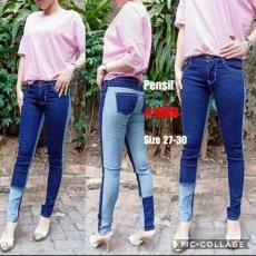 JHF - Jeans wanita impor motif kombinasi - Best seller