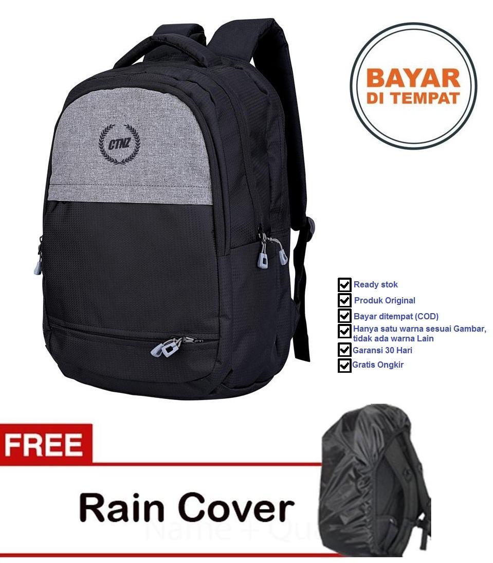 Catenzo Tas Ransel Backpack Sekolah Kuliah Kerja ST045 - Hitam - Plus Gratis Rain Cover Pelindung