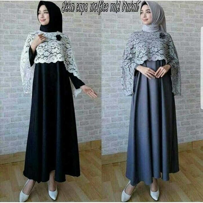 baju muslim wanita murah iska cape maxy dress gamis brokat gaun pesta
