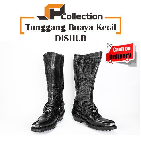 JAFERI Sepatu Boots Tunggang Buaya Kecil Logo DISHUB Warna Hitam Bahan Kulit Asli Sepatu Jatah TNI,