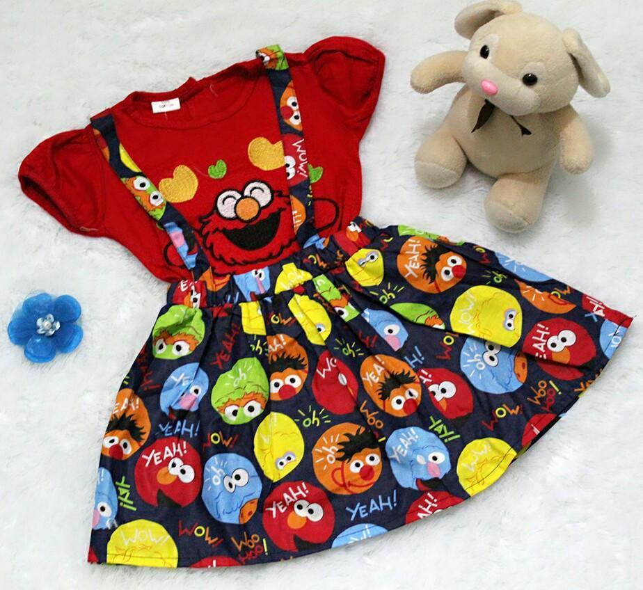 Setelan Overall Baju Rok Bayi Anak - Overall Rok Cookies Monster