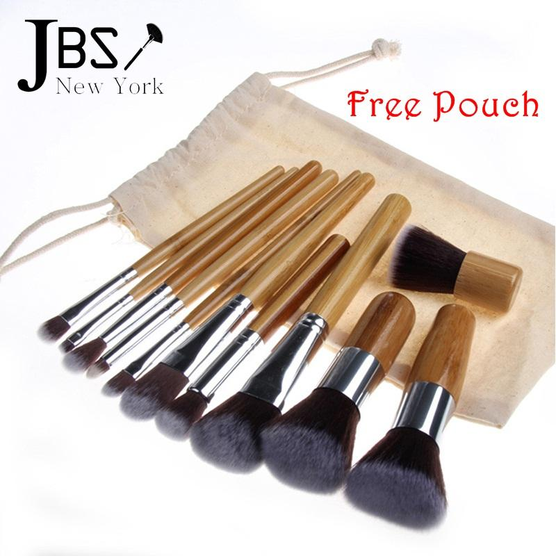 Kuas Make Up Cosmetic Brush Professional 11 Set with Pouch - Cream