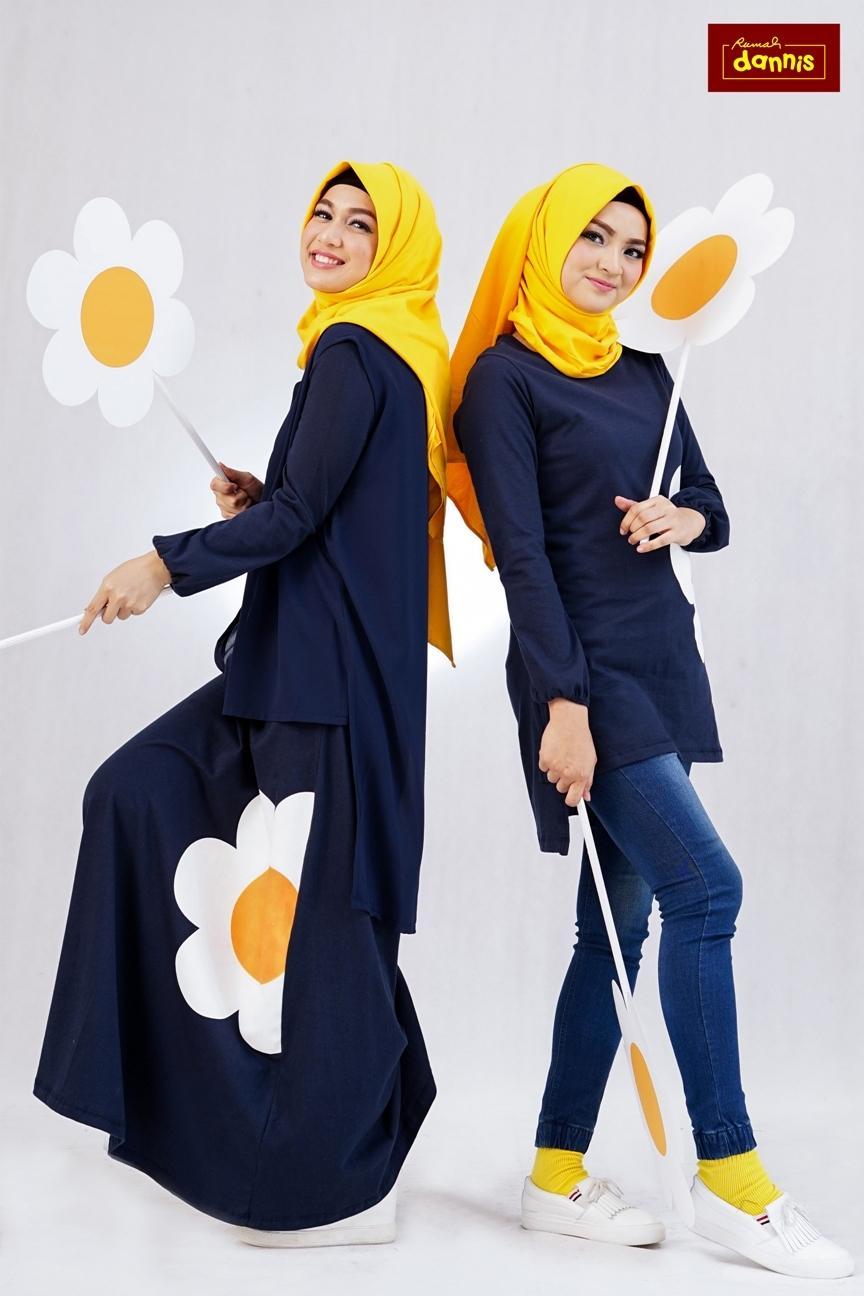Abaya Dannis Baju Muslim Sarimbit Eggy Flower - Navy - Bunga