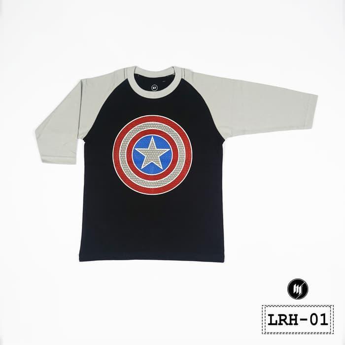 Kaos Anak Lengan Raglan 3/4 Superhero Motif Captain America - LRH01 - Hitam Abu
