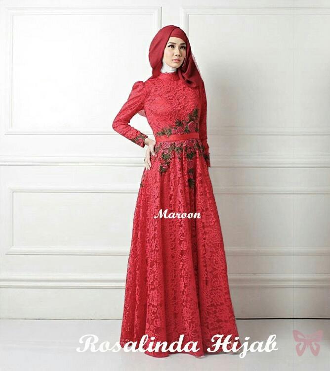 UC Dress Gamis Fitri Muslim / Kebaya / Syari Syar'i/ Baju Gamis Setelan Wanita 3 in 1 (salindaro) SS - Maroon