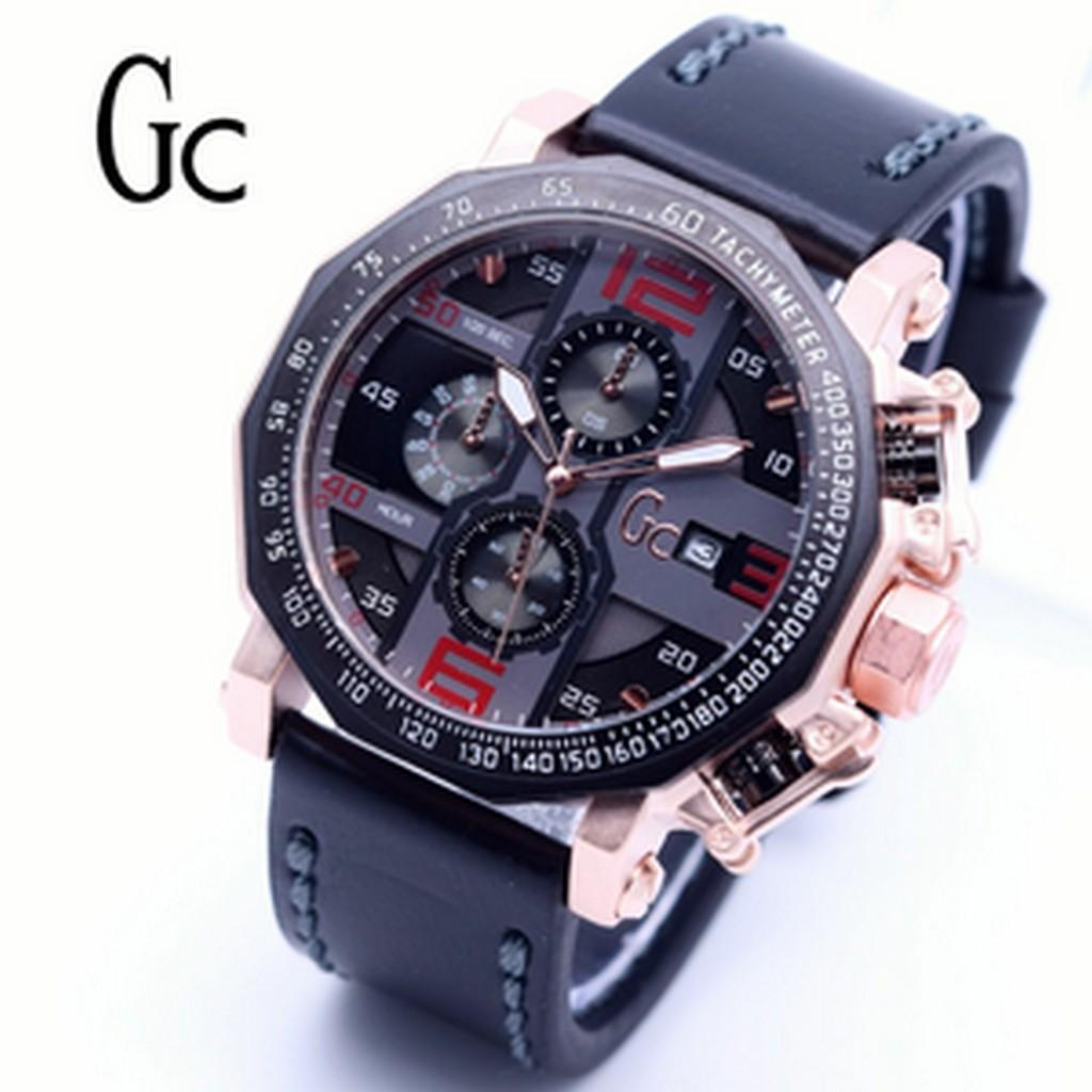 Guess Collection Gc Sportracer Y02009g7 Chronograph Jam Tangan Pria Cowok Chrono Sw Leather Black White Diskon Murah