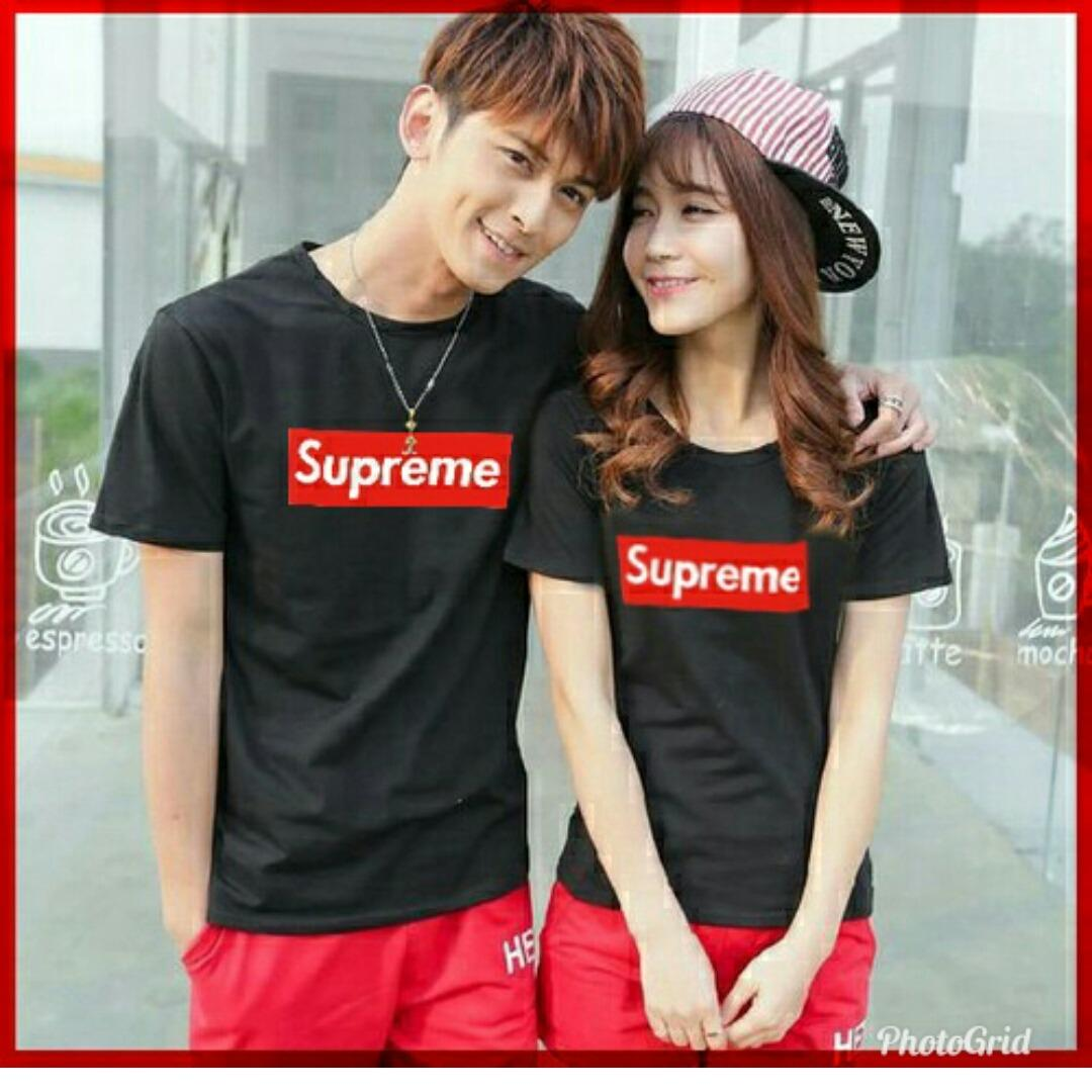 Gracestore - Kaos Couple T-shirt Supreme - Hitam