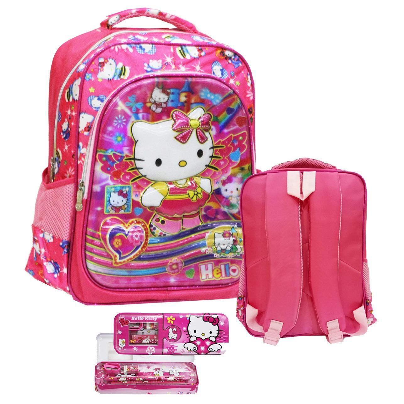 Onlan Tas Ransel Anak Sekolah SD Motif Karakter Hello Kitty Cantik 5D Timbul Hologram Import Dua Kantung + Kotak Pensil - Pink