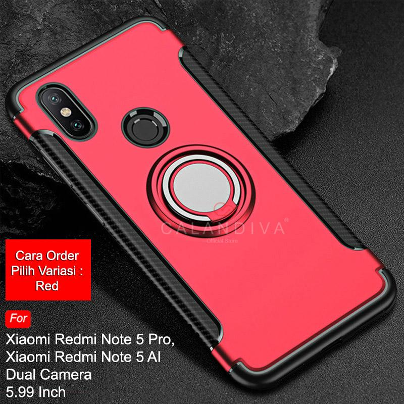 Calandiva Case Xiaomi Redmi Note 5 , Redmi Note 5 Pro (5.99 Inch) AI DUAL CAMERA (sama ukuran) Casing Ring Carbon Kickstand Hybrid Premium Quality Grade A