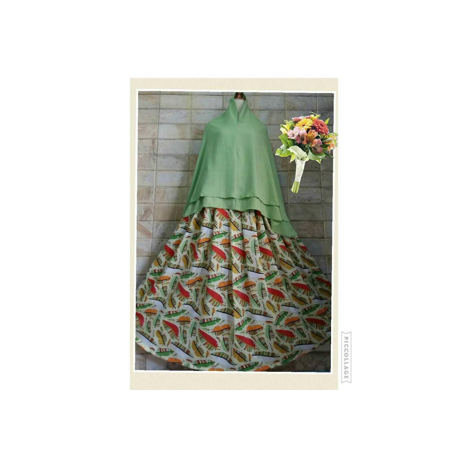 Set Gamis Syari Muslim motif daun warna hijau