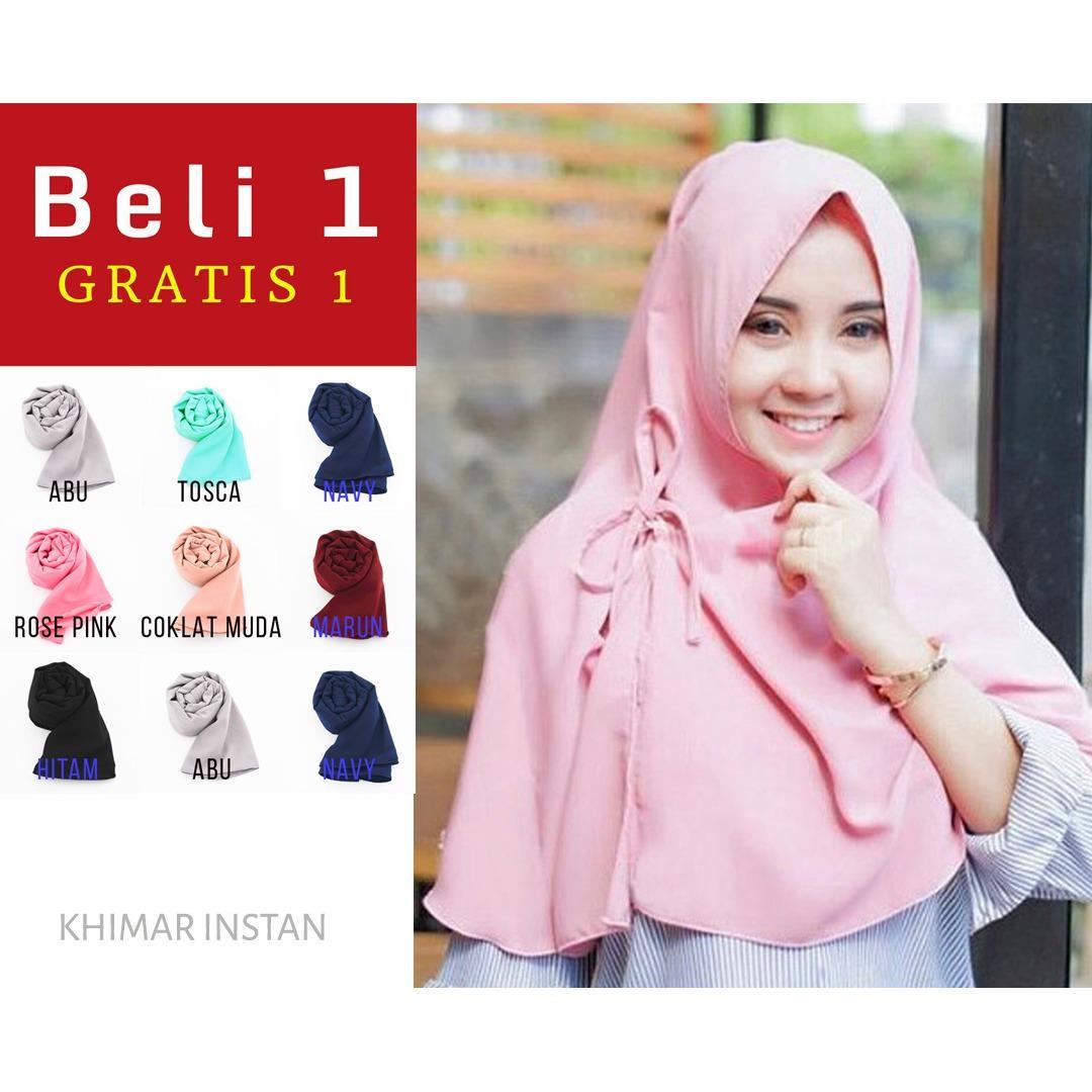PROMO Beli 1 Dapat 2 Hijab Instan Jilbab Kerudung Khimar Kanza - Jilbab Instan - Kerudung Hijab Khimar Instan