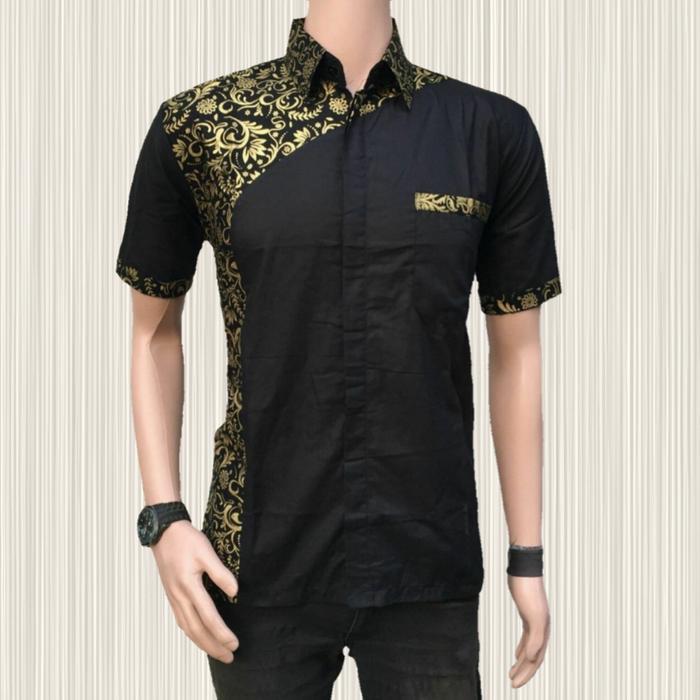 kemeja batik pria emas songket | asli BATIK PEKALONGAN INDONESIA - Hitam, M