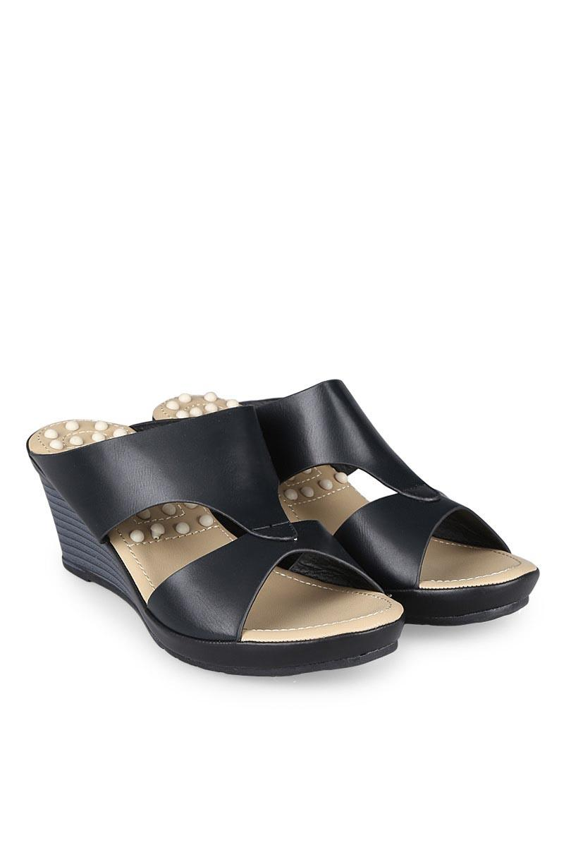 Bata Sandal Wedges Fashion Wanita Ladies Calista Black