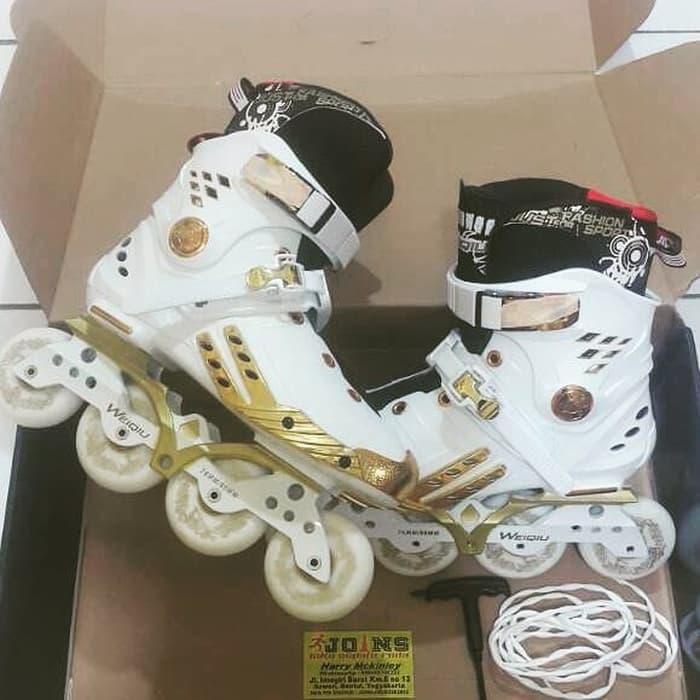 Harga Spesial!! Sepatu Roda | Inline Skate |Weiqiu Hybrid | White Gold - ready stock