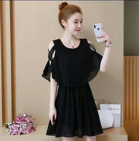 RICARDOF - Dress Black / Dress Wanita / Dress Korea / Dress Terbaru / Dress Trendy / Dress Kaos / Dress Polos / Midi Dress / Dress Mini